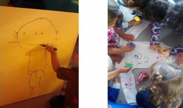 Fotografías: experiencia pedagógica de la maestra Ruth Albarracín Barreto, niñas niños de primera infancia del Colegio Agustín Fernández, sede B.