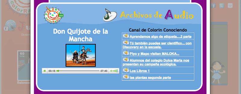Aunque el sitio web de Colorín ColorRadio no se actualiza desde el año 2013 puedes encontrar en él canciones y audios de algunos programas como Colorín Conociendo.