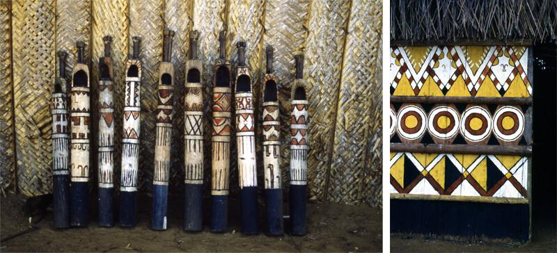 Bastones para el baile con sus imagenes ancestrales (izquierda). Imágenes ancestrales resguardan la maloca (derecha). Fotografías: François Correa.