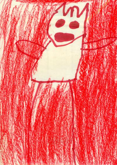 Autorretrato de niña de tres años en la iglesia de Bojayá (2005), crayón sobre papel.