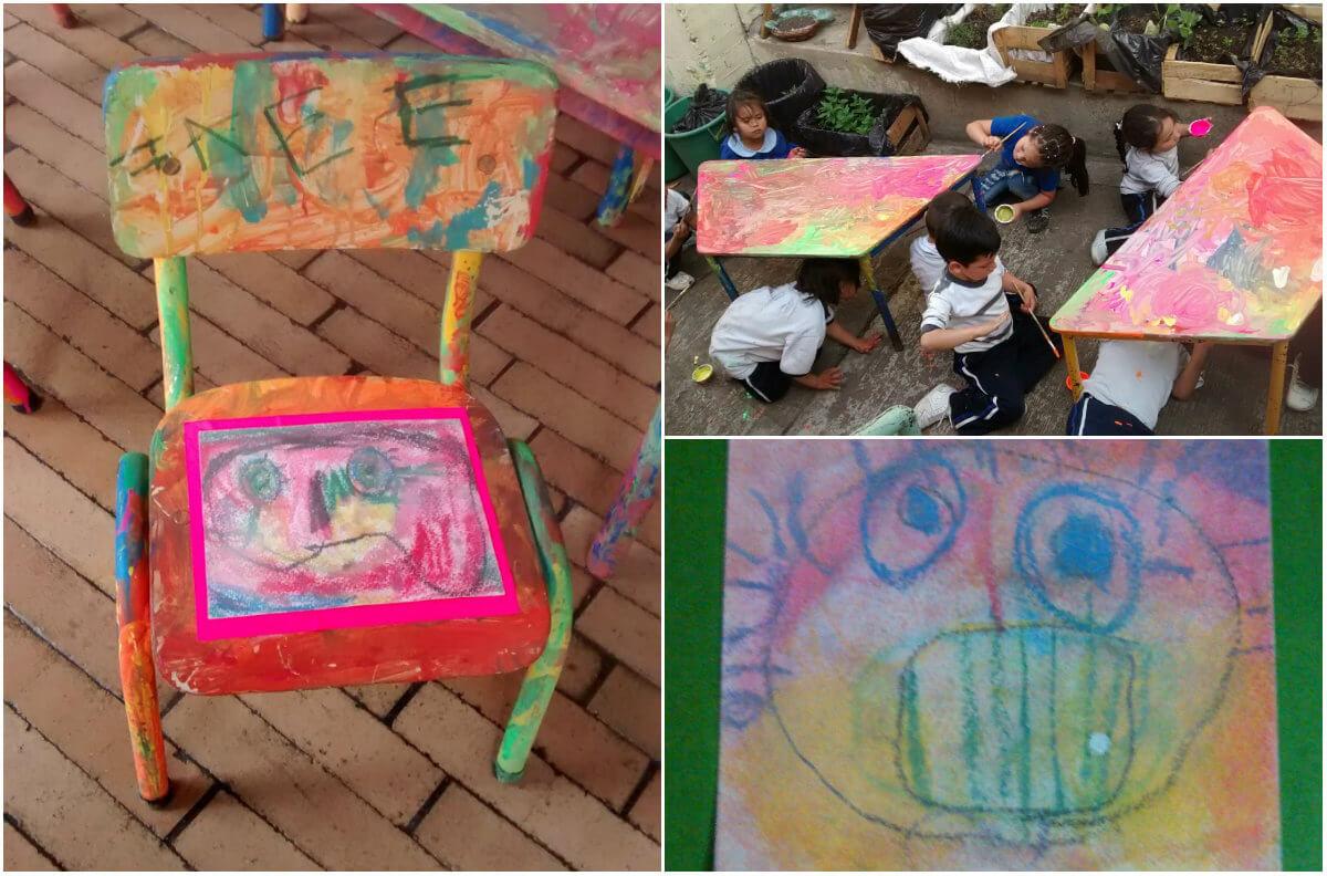 ¿Qué tal si se pinta de paz una mesa con sus sillas y se propone como espacio para la reconciliación? Puede funcionar muy bien para la casa, la escuela, el jardín, la biblioteca, o cualquier espacio habitado por los niños.