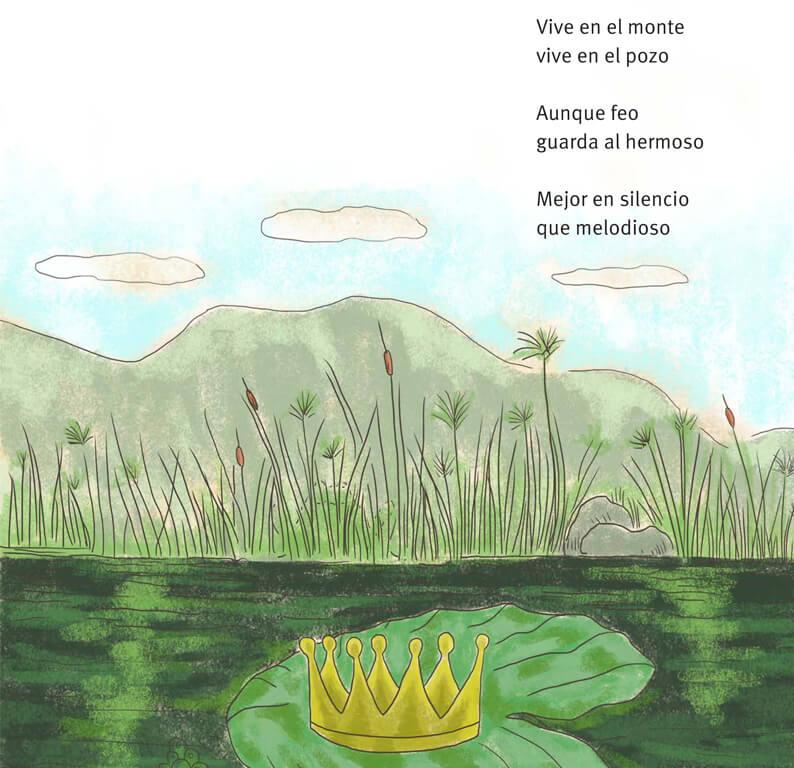 Página del libro Ábrete grano pequeño. Ilustraciones de Olga Lucía García.