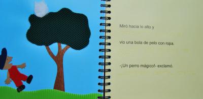 Página interna de ¡No me comas!, historia en la que un niño llamado Hugo es el protagonista.
