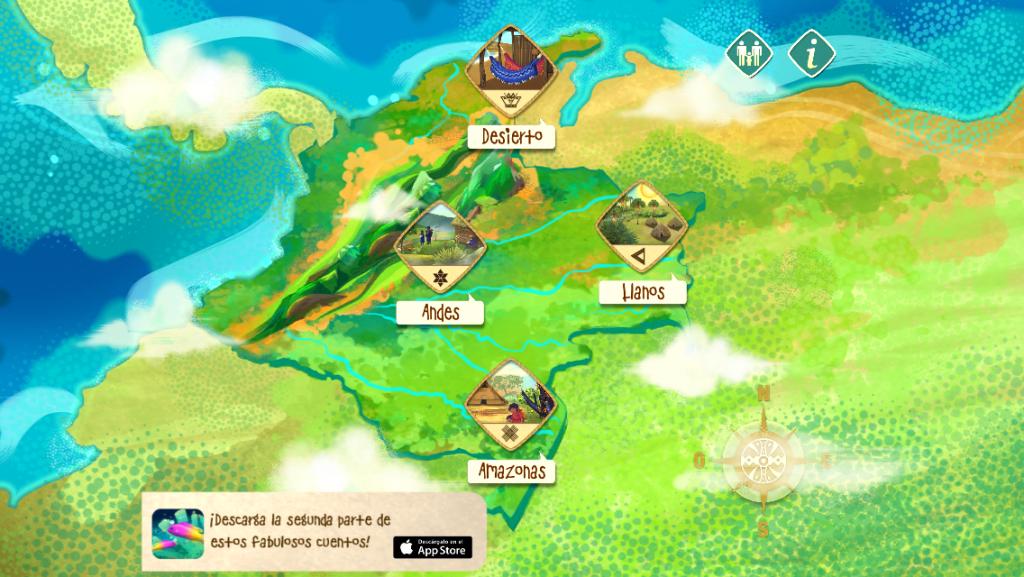 La app está dividida en dos partes. Su primera entrega permite viajar al Desierto en la Guajira, los Llanos, Los Andes y el Amazonas. La segunda, al Caribe, la Sierra Nevada, el Chocó y Guainía.