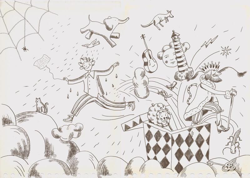 Boceto digitalizado por la artista para la portada del libro Ábrete grano pequeño.