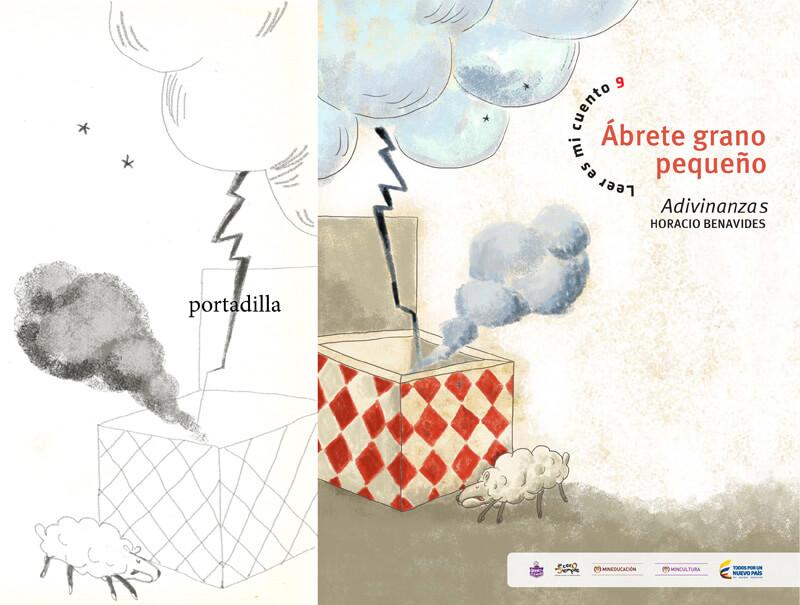 Imagen del proceso de la portadilla del libro. A la izquierda, boceto a lápiz. A la derecha, diseño final.